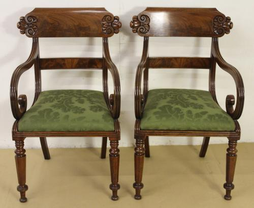 Pair of William IV Mahogany Scroll Armchairs (1 of 1)