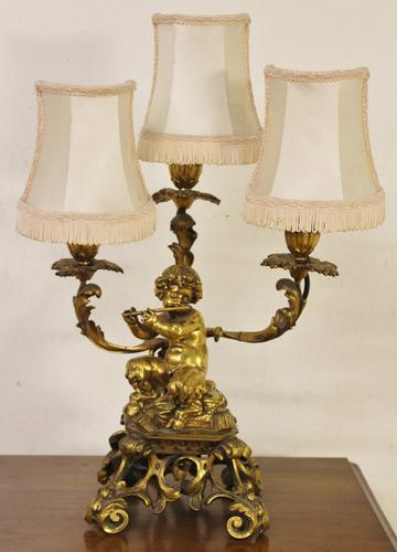 Excellent Gilt Bronze Table Lamp c.1870 (1 of 9)
