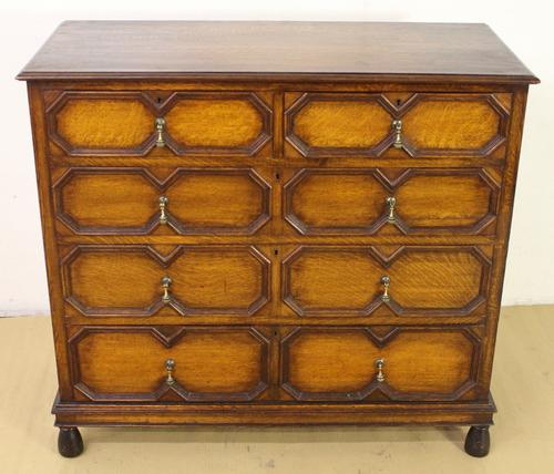 Golden Oak Block Fronted Chest of Drawers (1 of 1)