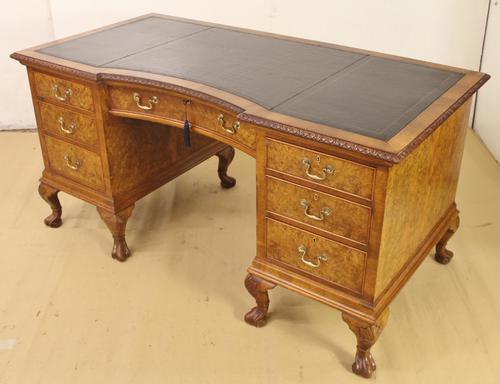 Burr Walnut Pedestal Desk c.1910 (1 of 1)