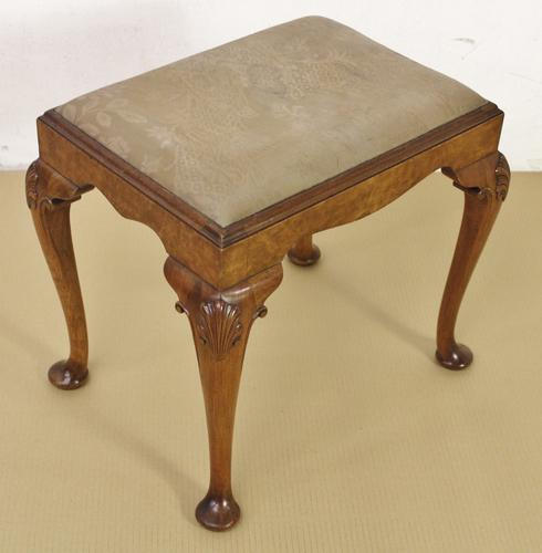 Queen Anne Style Burr Walnut Stool c.1900 (1 of 1)