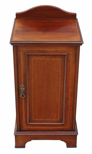 Edwardian Inlaid Mahogany Bedside Table Cupboard Cabinet (1 of 8)