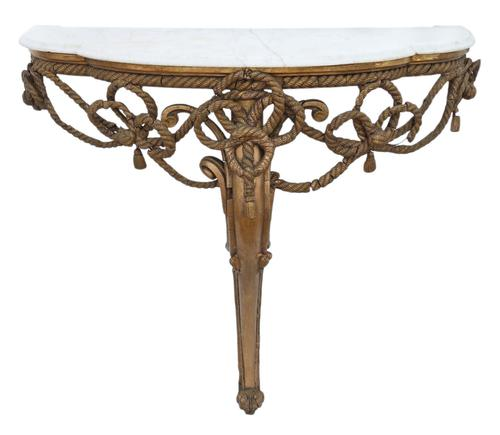 19th Century Gilt Marble Demi-Lune Console Table (1 of 8)