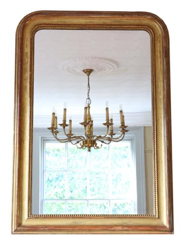 Large 19th Century Gilt Overmantle or Wall Mirror (1 of 8)