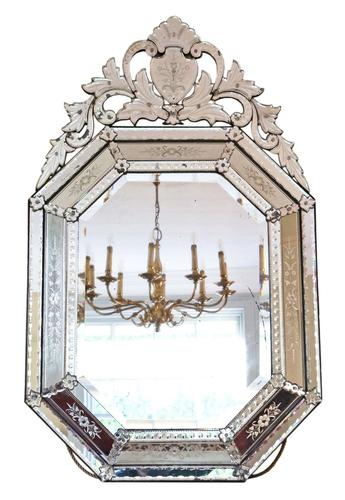 19th Century Large Quality Venetian Glass Overmantle or Wall Mirror (1 of 8)