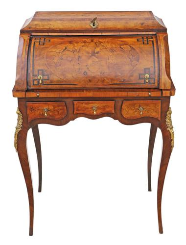 Small 19th Century Marquetry Cylinder Bureau Desk (1 of 9)