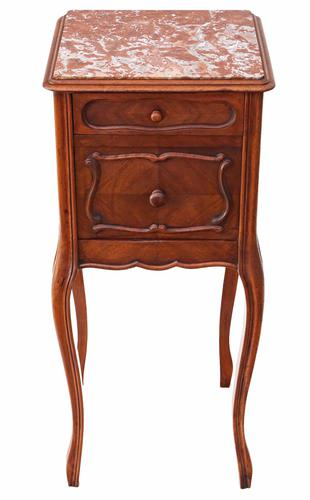 French Walnut Marble Bedside Table / Cupboard / Cabinet C.1920 (1 of 8)