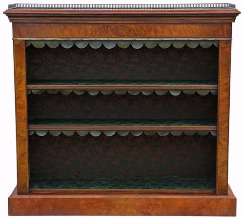 Inlaid Burr Walnut Bookcase Display Adjustable Shelves c.1920 (1 of 1)