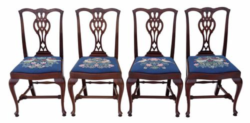 Set of 4 Mahogany Chippendale Revival Dining Chairs (1 of 1)