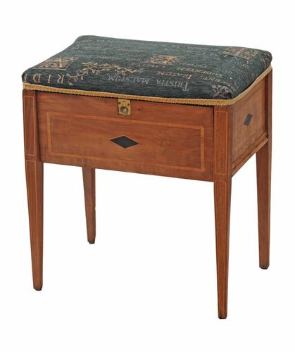 Edwardian Inlaid Walnut Piano Music Stool / Dressing Table Stool (1 of 10)