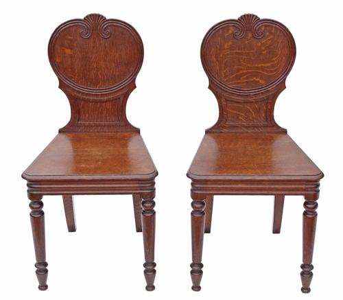 Pair of Quality Victorian Oak Hall Chairs Side Bedroom (1 of 7)