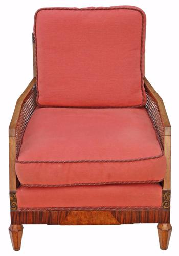 Art Deco Burr Walnut & Rosewood Bergere Armchair (1 of 1)