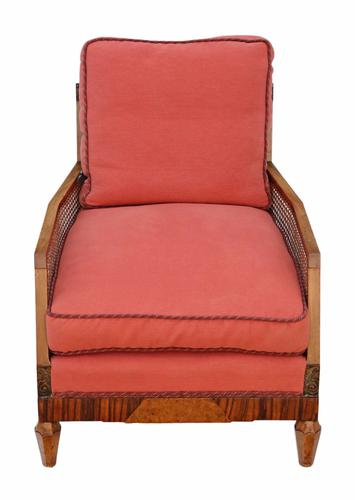 Art Deco Rosewood & Burr Walnut Bergere Armchair (1 of 1)