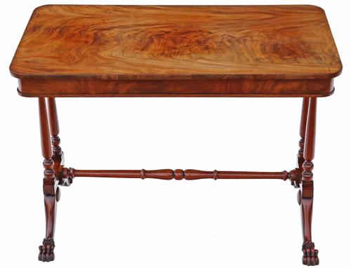 Victorian Flame Mahogany Stretcher Centre Table (1 of 9)
