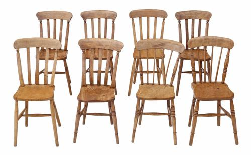 Matched Set of 8 Victorian Ash & Elm Kitchen Dining Chairs (1 of 1)