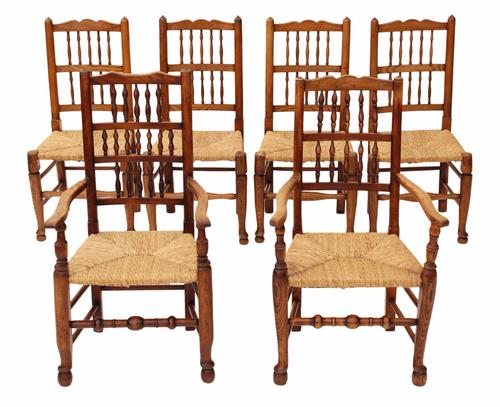 Set of 6 Victorian Lancashire Elm Kitchen Dining Chairs (1 of 1)