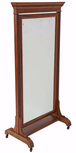 Victorian Walnut & Oak Cheval Mirror (1 of 1)