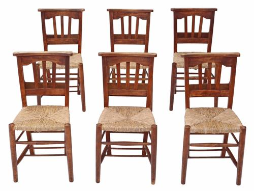 Set of 6 Victorian Beech & Ash Chapel Kitchen Dining Chairs (1 of 1)