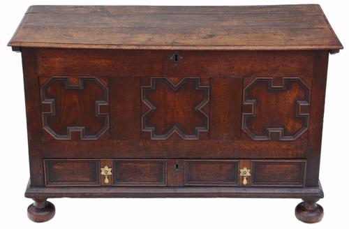 18th Century Georgian Oak Coffer or Mule Chest (1 of 1)