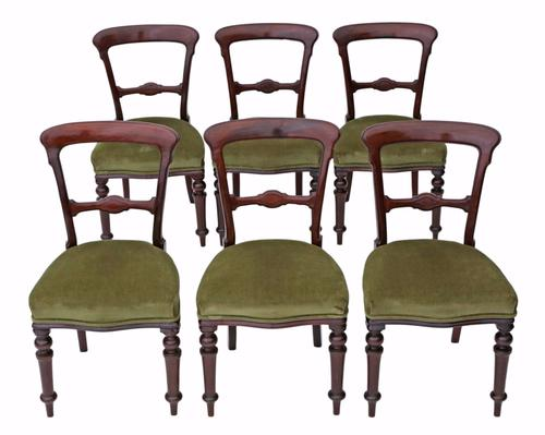 Set of 6 Victorian Mahogany Balloon Back Dining Chairs c.1890 (1 of 1)