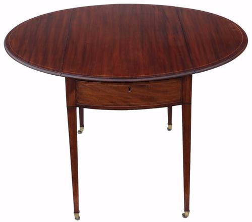 Regency Inlaid Mahogany Pembroke Side Tea or Sofa Table (1 of 8)