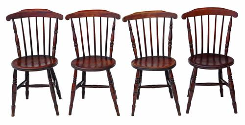 Set of 4 Victorian Penny Windsor Kitchen Dining Chairs c.1890 (1 of 1)