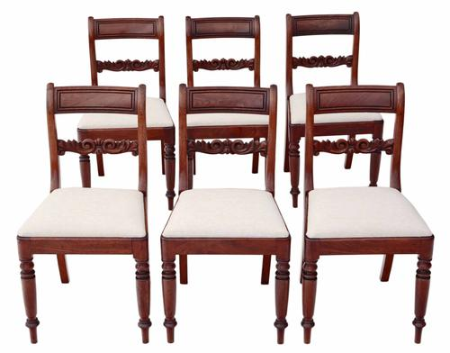 Set of 6 William IV Mahogany Dining Chairs c.1830 (1 of 1)