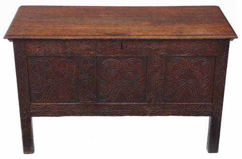 Georgian Carved Oak Coffer or Mule Chest (1 of 1)