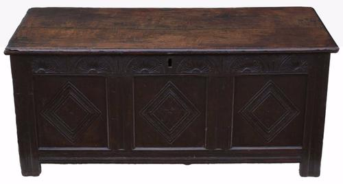 18th Century Large Georgian Oak Coffer or Mule Chest (1 of 1)