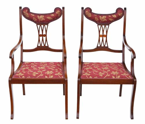 Pair of Inlaid Mahogany Elbow Chairs C.1905 (1 of 1)