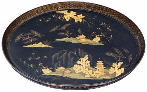 Victorian Chinoiserie Black Lacquer Serving Tray (1 of 1)