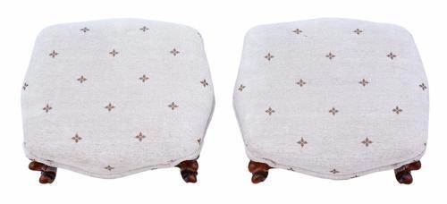 Pair of Victorian Walnut Footstools (1 of 1)