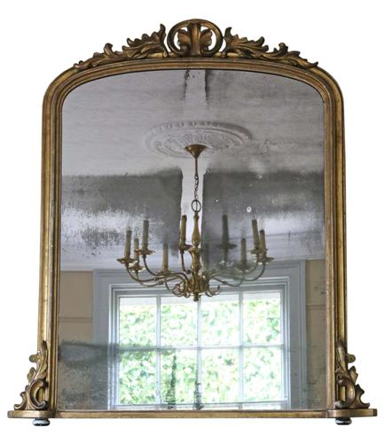 Victorian Gilt Wall Mirror Overmantle c.1860 (1 of 1)