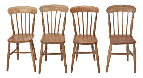 Set of 4 Victorian Ash & Elm Kitchen Dining Chairs c.1890 (1 of 1)