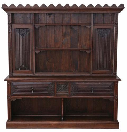 Victorian Gothic Carved Oak Sideboard Chiffonier Dresser (1 of 1)