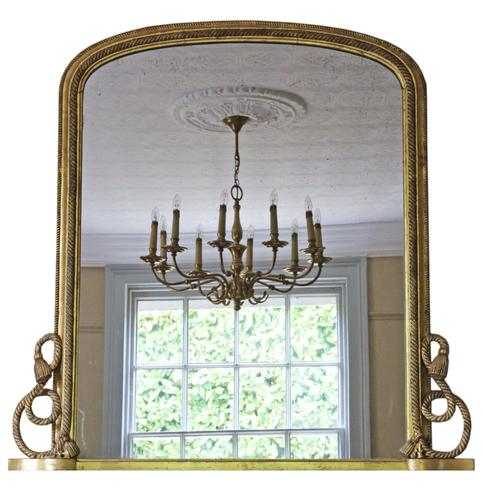 Victorian Gilt Wall Mirror Overmantle c.1870 (1 of 1)