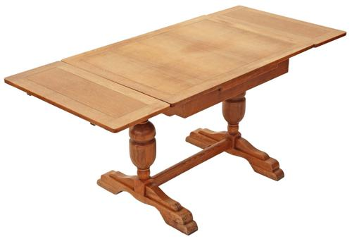 Oak Drawer Leaf Extending Refectory Dining Table c.1925 (1 of 1)