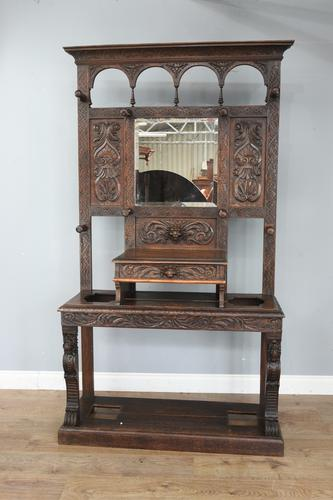 Carved Oak Hall Stand C.1880 (1 of 6)