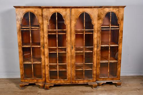 Walnut Queen Anne Style Breakfront Bookcase c.1900 (1 of 3)
