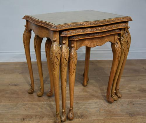 Queen Anne Style Burr Walnut Nest of Tables c.1930 (1 of 5)