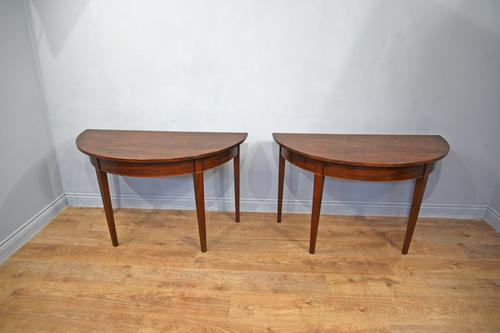 Pair of Georgian Mahogany Demi Lune Console Tables (1 of 1)