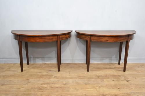Antique Pair of Georgian Mahogany Demi Lune Console Tables (1 of 3)