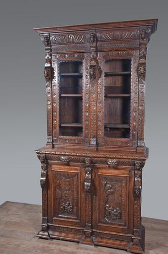 Carved Oak Green Man Bookcase c.1890 (1 of 9)