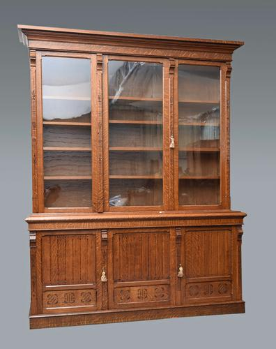 Large Victorian Arts & Crafts Oak Library Bookcase (1 of 1)
