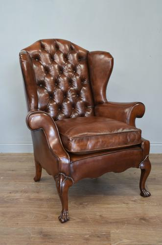 English Antique Leather & Buttoned Wing Armchair (1 of 5)