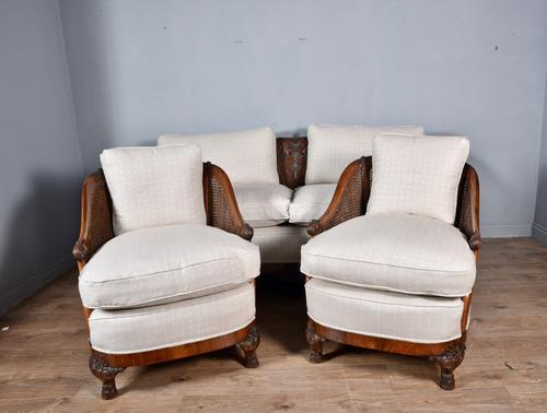 Antique Carved Walnut Bergere Suite Sofa Pair of Chairs (1 of 11)
