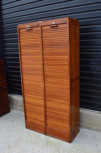 Large Double Oak Tambour Front Filing Cabinet Bookcase (1 of 1)