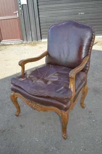 STUNNING French Leather & Crocodile Skin Louis Style Open Armchair (1 of 1)