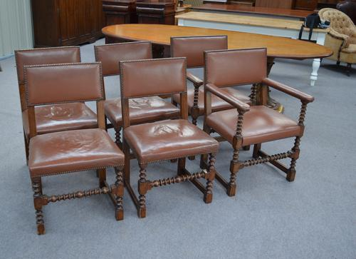 Set of 6 Cromwellian Oak & Leather Dining Chairs (1 of 1)
