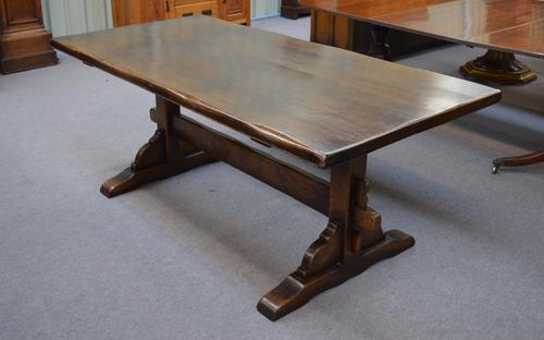 """Titchmarsh Goodwin """"Style"""" Oak Refectory Table & 6 Leather Cromwellian Style Chairs (1 of 1)"""
